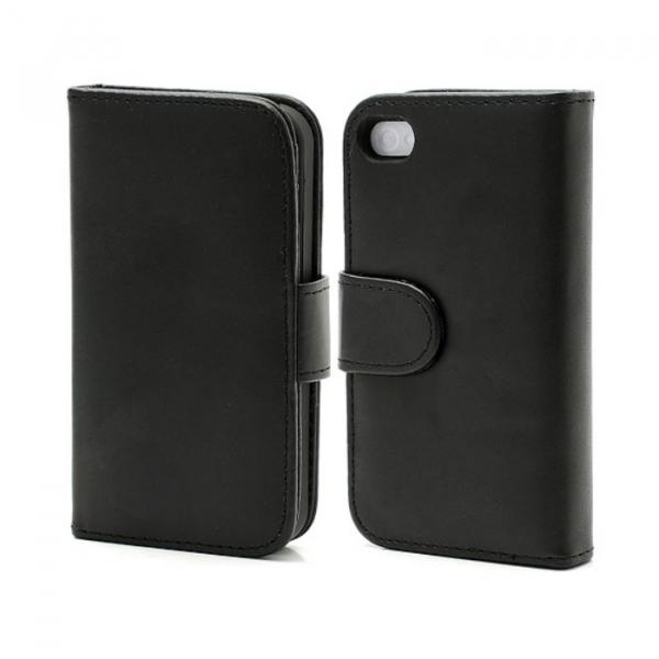 Folio coque support cuir pour IPHONE 4/4S - Noir