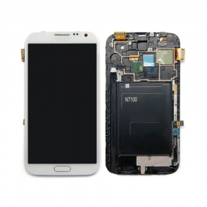 Vitre tactile + LCD + chassis - SAMSUNG GALAXY NOTE 2 - N7100 - Blanc