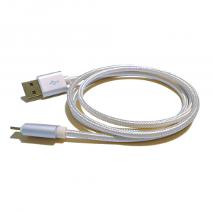 Câble USB Lightning nylon plaqué or - pour APPLE IPHONE 5/6/7 & IPAD 4/Mini/Air - 1m - Blanc