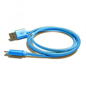 Câble USB Lightning nylon plaqué or - pour APPLE IPHONE 5/6/7 & IPAD 4/Mini/Air - 1m - Bleu