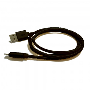 Câble USB Lightning nylon plaqué or - pour APPLE IPHONE 5/6/7 & IPAD 4/Mini/Air - 1m - Noir