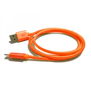 Câble USB Lightning nylon plaqué or - pour APPLE IPHONE 5/6/7 & IPAD 4/Mini/Air - 1m - Orange