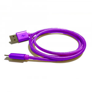 Câble USB Lightning nylon plaqué or - pour APPLE IPHONE 5/6/7 & IPAD 4/Mini/Air - 1m - Violet