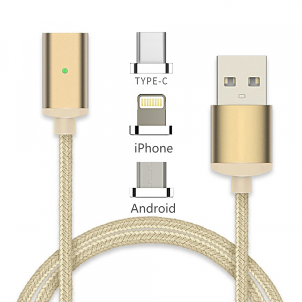 Câble USB magnetique 3 en 1 renforcé - Lightning / micro USB / Type C - Or