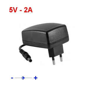 Chargeur secteur 5 V - 2A - jack 5,5mm / 2,5mm - Noir